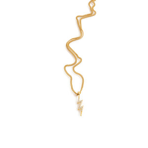Gold lightning charm necklace with cubic zirconia