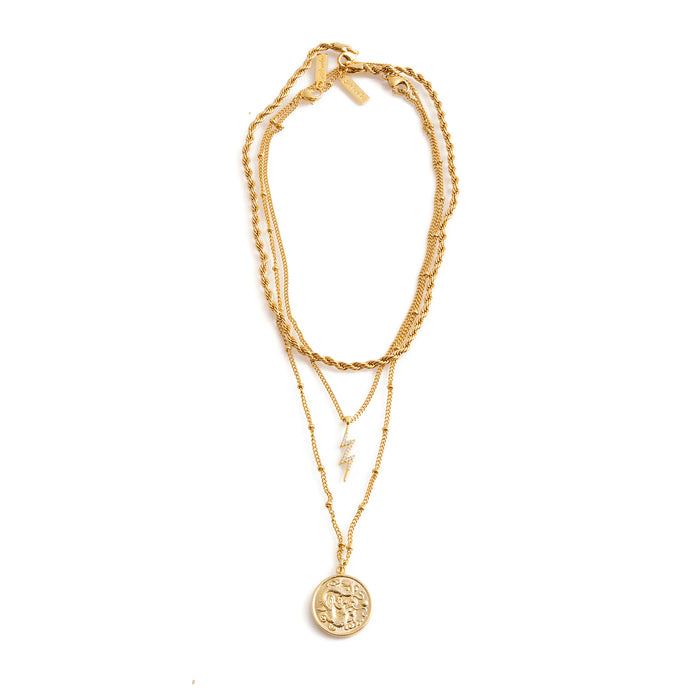Three necklace combo gold-plated stainless steel