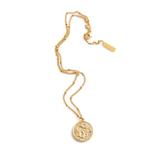 Load image into Gallery viewer, Long gold necklace with large snake pendant