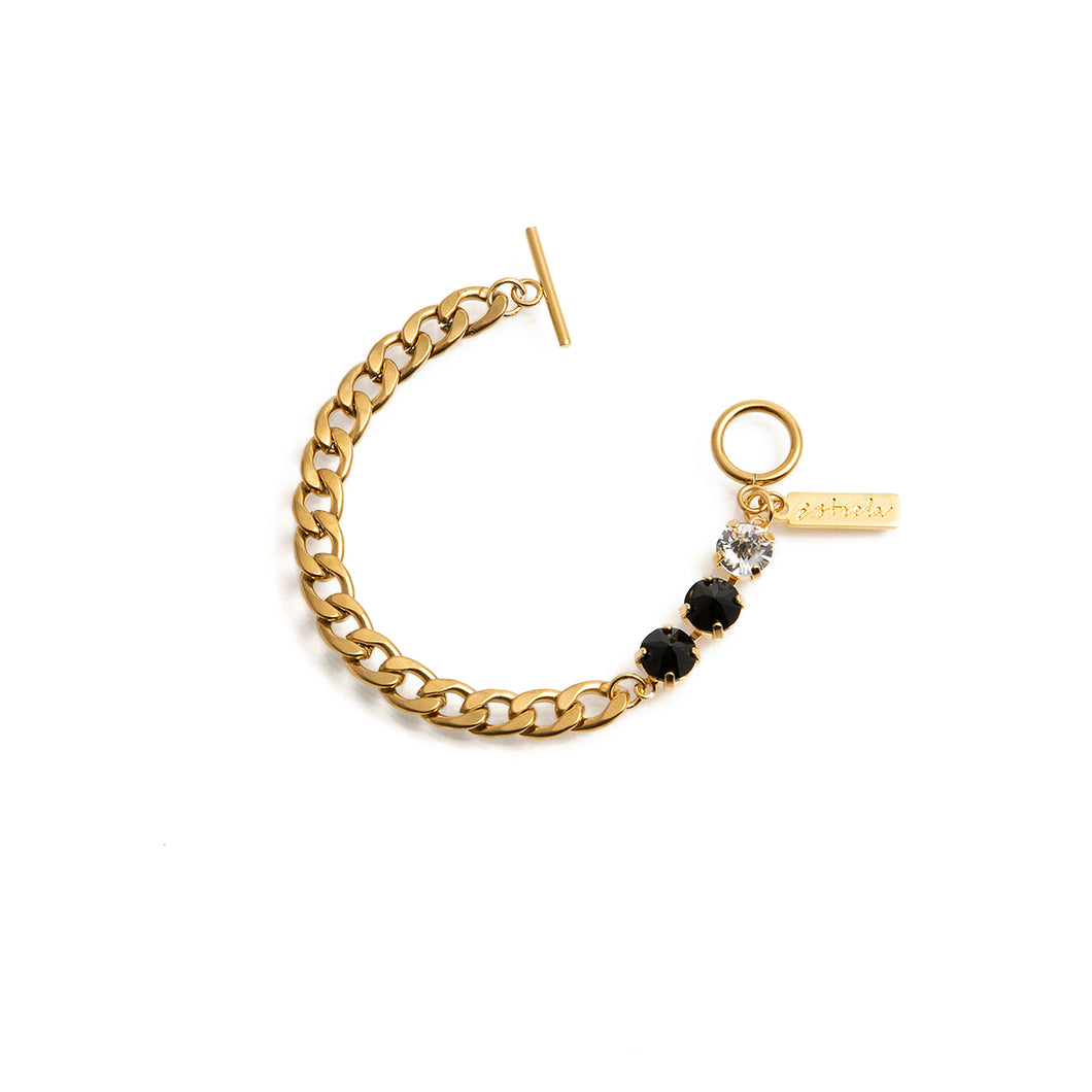 GOLD and black crystal bracelet