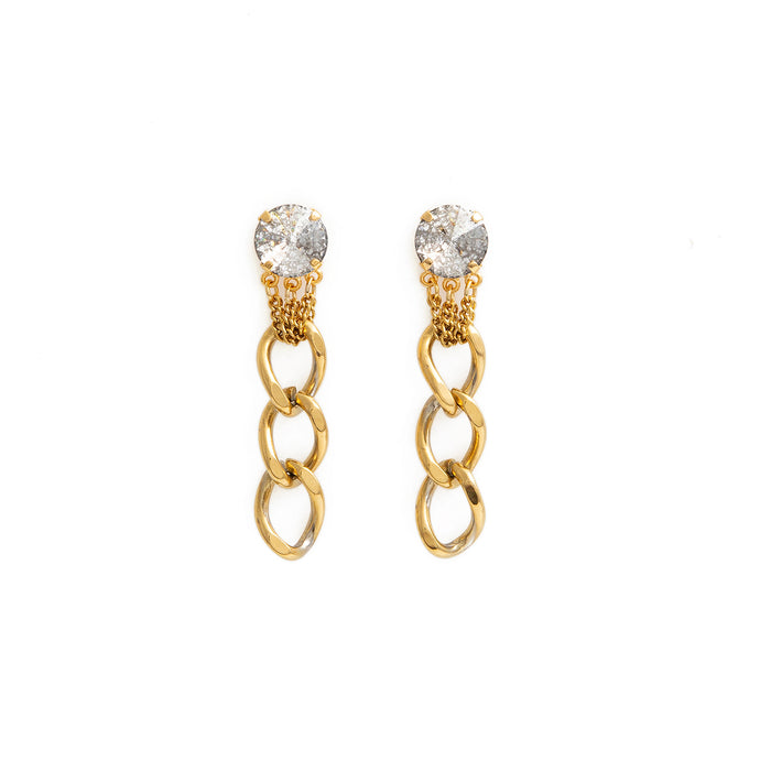LAUREN gold and crystal Swarovski dangling earrings