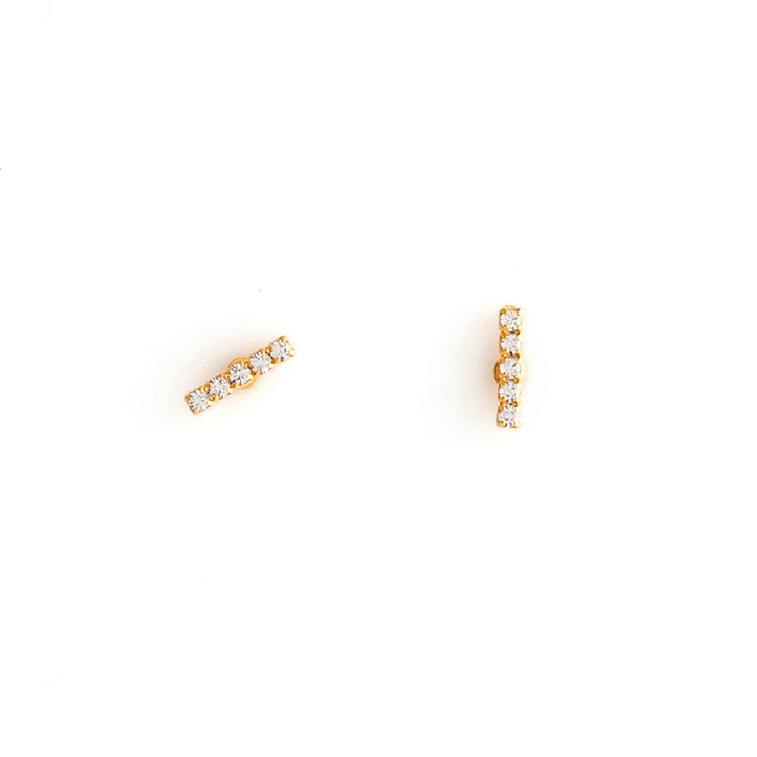 Gold Crystal  Stud Earrings by ESTRELA