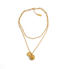 Load image into Gallery viewer, MANGO Necklace gold double-layer medallion