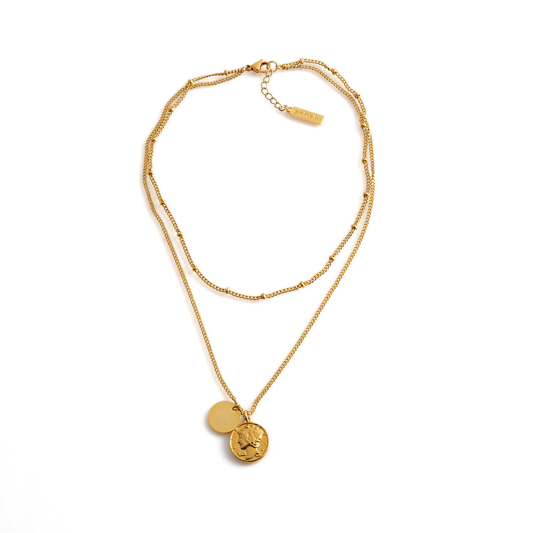 MANGO Necklace gold double-layer medallion