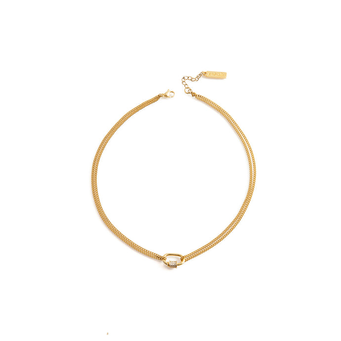 Gold plated stainless steel choker necklace with zirconia