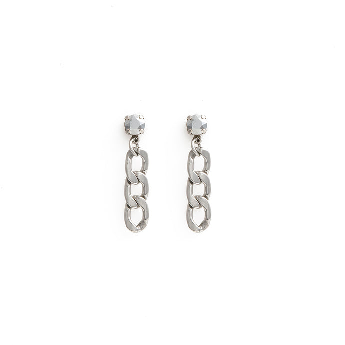 Chrome crystal swarovski dangling earrings