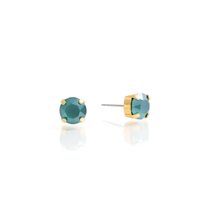 Gold and green swarovski crystal stud earrings