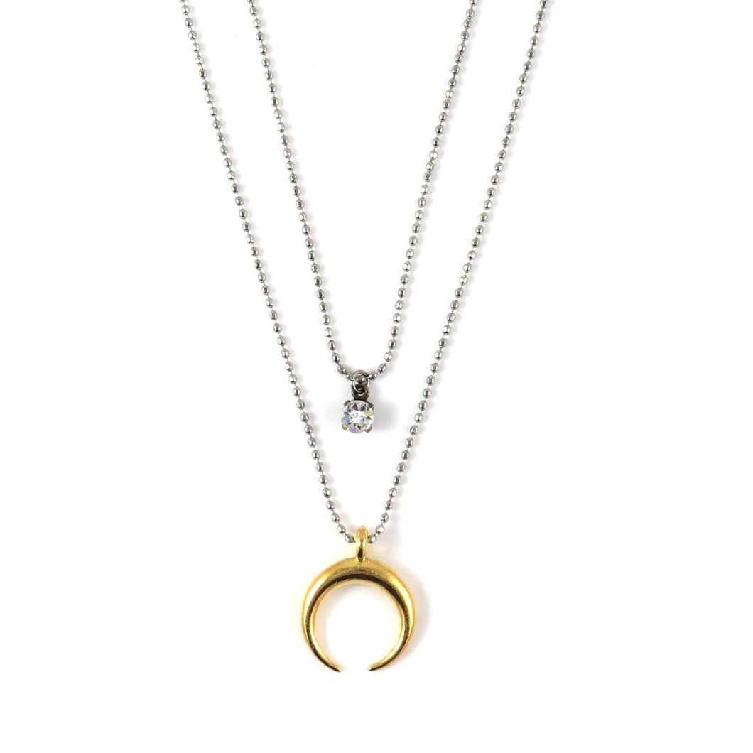 Double-layer necklace with Swarovski crystal and half-moon pendant