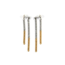 Charger l'image dans la galerie, Two-tone stainless steel long earrings