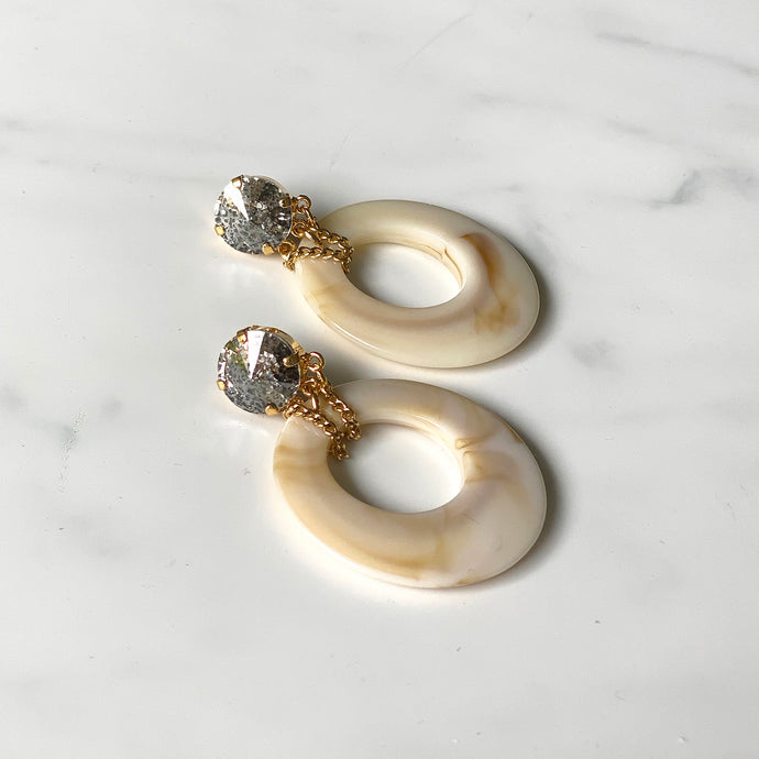 Swarovski and lucite hoop earrings by Estrela