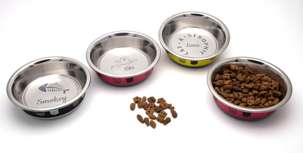 Personalised Cat Bowl, Bespoke Stainless Steel Quality Food / Water Tray