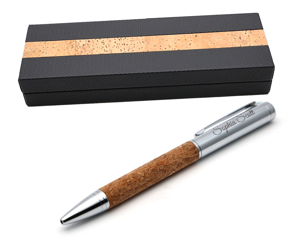 Personalised Premium Cork Metal Ballpoint Pen + Gift Box
