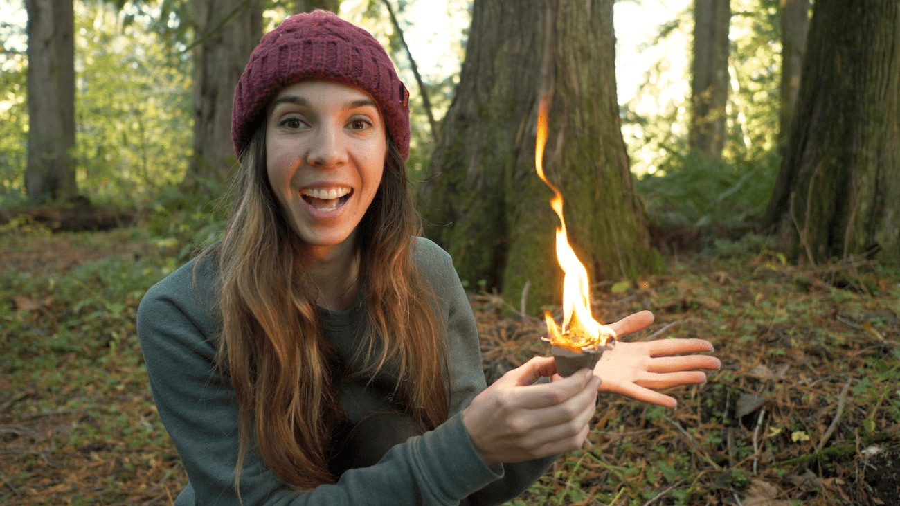girl holding fire starter