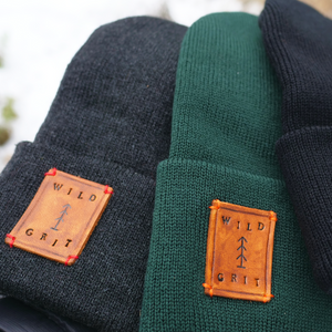 Detail view of adventure beanie patches
