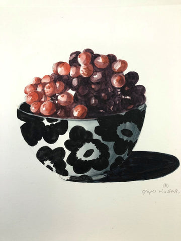 painting of a bowl of grapes