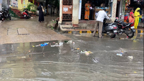 Plastic being washed away by heavy rainfall