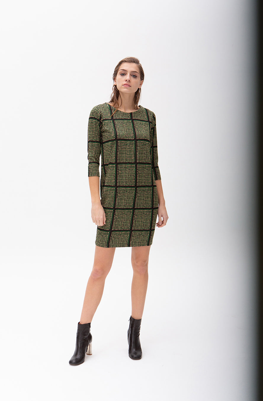 JULIET DRESS | BLACK GRID - Ruban Rouge Boutique