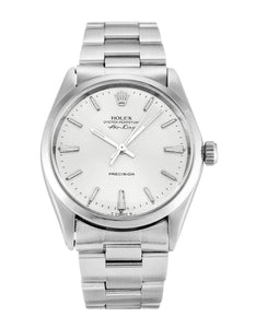 ROLEX AIR-KING SILVER BATON DIAL STAINLESS STEEL MENS 5500