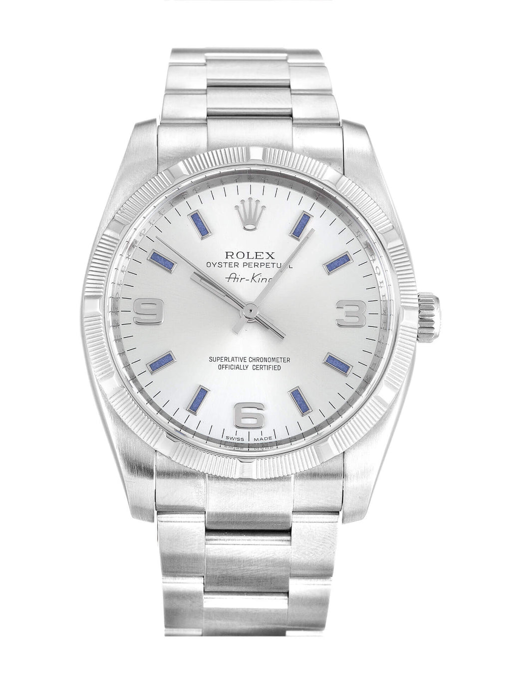 ROLEX AIR-KING SILVER QUARTER ARABIC DIAL STAINLESS STEEL MENS 114210