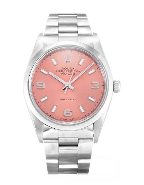 ROLEX AIR-KING PINK QUARTER ARABIC DIAL STAINLESS STEEL MENS 14000