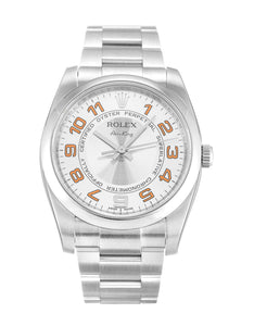 ROLEX AIR-KING SILVER ARABIC DIAL STAINLESS STEEL MENS 114200