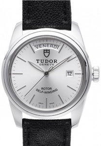 Replica Tudor Glamour Date Day Silver Dial Leather Strap Mens Watch 56000-5