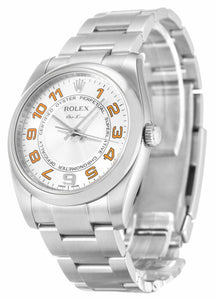 ROLEX AIR-KING SILVER ARABIC DIAL STAINLESS STEEL MENS 114200 - Top Watches