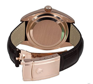 ky-Dweller Everose Gold on Brown Leather Strap 326135 - Top Watches
