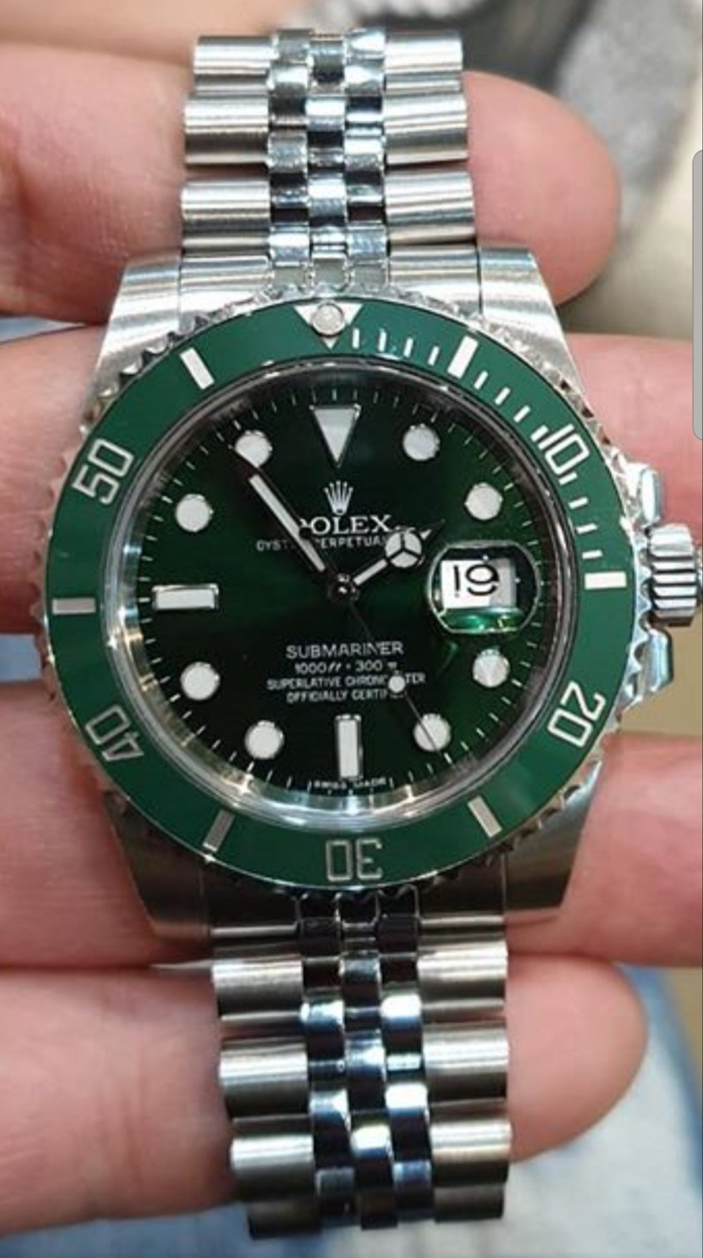 Rolex Submariner Green Dial Steel Mens Watch 116610lv HULK replica