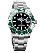 Load image into Gallery viewer, Submariner green bezel black dial