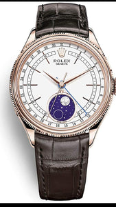 ini Moonphase Everose Gold/Tobacco Leather Bracelet / 50535-0002  replica