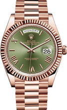 Load image into Gallery viewer, ROLEX DAY DATE 40 PRESIDENT ROSE GOLDFLUTED BEZEL OLIVE GREEN DIAL - Top Watches