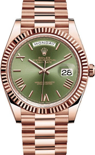 ROLEX DAY DATE 40 PRESIDENT ROSE GOLDFLUTED BEZEL OLIVE GREEN DIAL