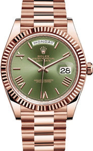ROLEX DAY DATE 40 PRESIDENT ROSE GOLDFLUTED BEZEL OLIVE GREEN DIAL - Top Watches