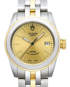 Replica Tudor Glamour Date Champagne Dial Yellow Gold Strap Ladies Watch 51003-1