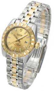 Replica Tudor Classic Date Champagne Dial Steel Yellow Gold Strap Ladies Watch 22013-1
