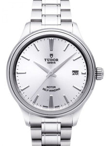Replica Tudor Style 38mm Silver Dial Steel Strap Mens Watch 12500