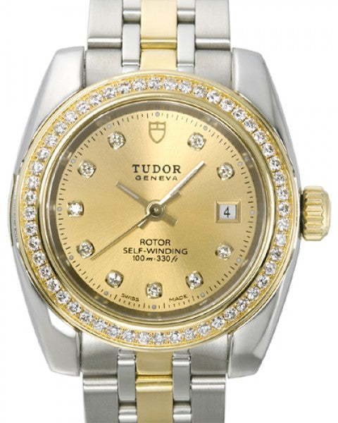 Replica Tudor Classic Date Champagne Dial Yellow Gold Strap Ladies Watch 22023-1