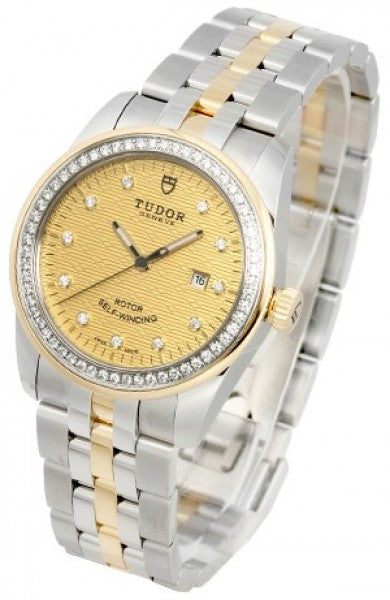 Replica Tudor Glamour Date Mother-Of-Pearl Dial Steel Strap Ladies Watch 53023-1