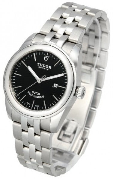 Replica Tudor Glamour Date Black Dial Steel Strap Ladies Watch 53000-2