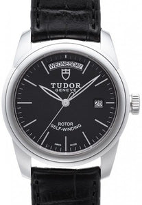 Replica Tudor Glamour Date Day Black Dial Folding Clasp Mens Watch 56000-3