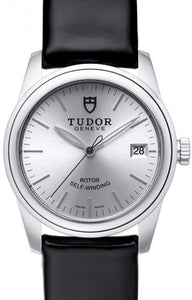Replica Tudor Glamour Date Silver Dial Leather Strap Ladies Watch 55000-1