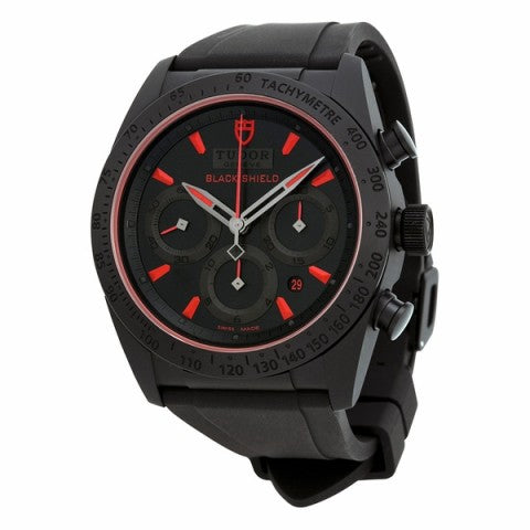 Replica TUDOR Fastrider Black Shield Black Dial Blsck Rubber Mens Watch 42000CR-BKRS