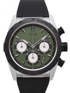 Replica Tudor Fastrider Chronograph Green Dial Rubber Strap Mens Watch 42010N-2