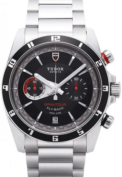 Replica Tudor Grantour Chrono Fly Back Black Dial Steel Strap Mens Watch 20550N-95730black