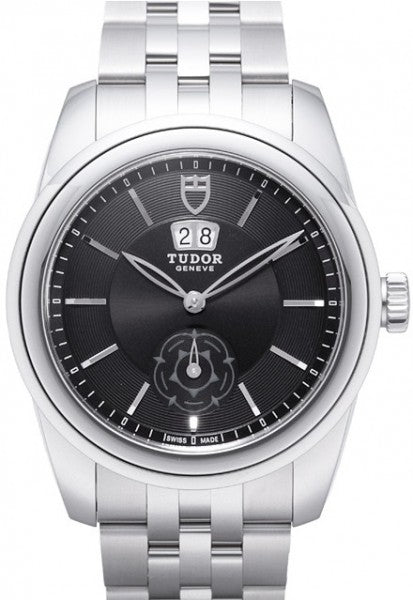 Replica Tudor Glamour Double Date Black Dial Folding Clasp Mens Watch 57000-2