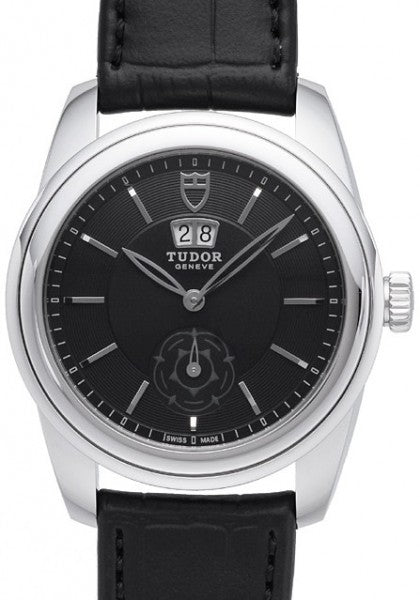 Replica Tudor Glamour Double Date Black Dial Folding Clasp Mens Watch 57000-1