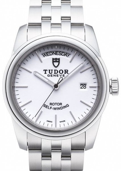 Replica Tudor Glamour Date Day White Dial Steel Strap Mens Watch 56000-4