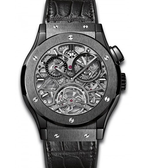 Hublot Classic Fusion Replica,Hublot Classic Fusion Tourbillion All Black Skeleton Dial Ceramic