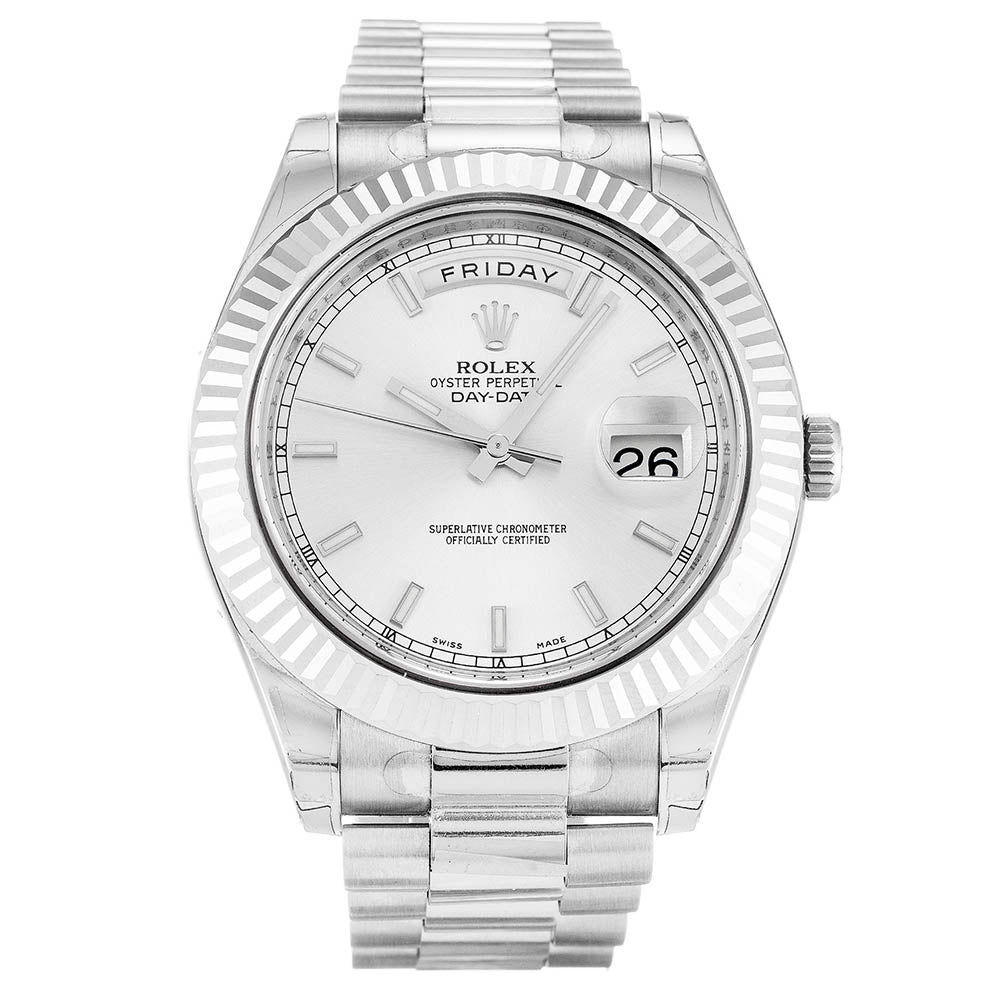 AUTOMATIC ROLEX DAY-DATE II 218239 SILVER - Top Watches